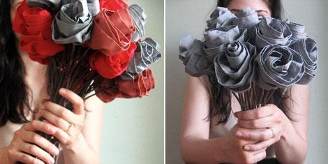 Fabric roses at Oh Joy!