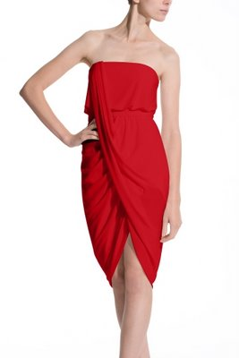 BCBG red strapless asymmetrical dress