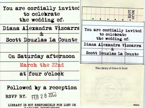 Library themed wedding invitations