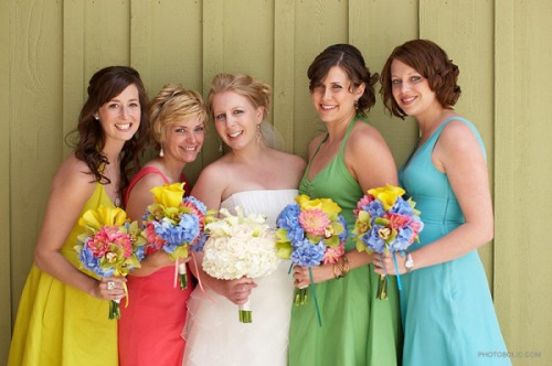 Lucky Me's bride takes on colorful bridesmaids...fun!