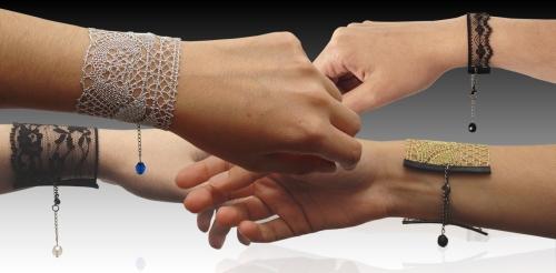 Sandra Bautista lace bracelets on Brooklyn Bride