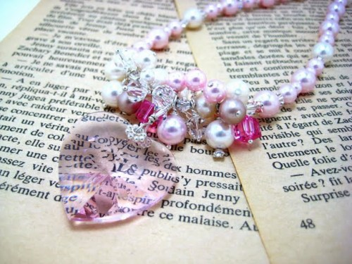 Pink Heart bridal necklace, as seen on Perfect Bound