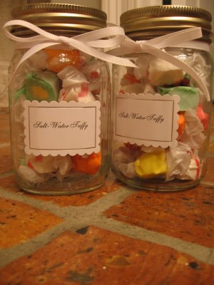Salt water taffy favors on Classic Bride